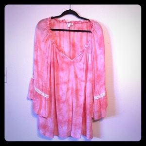 Coral Top with Bell Sleeves
